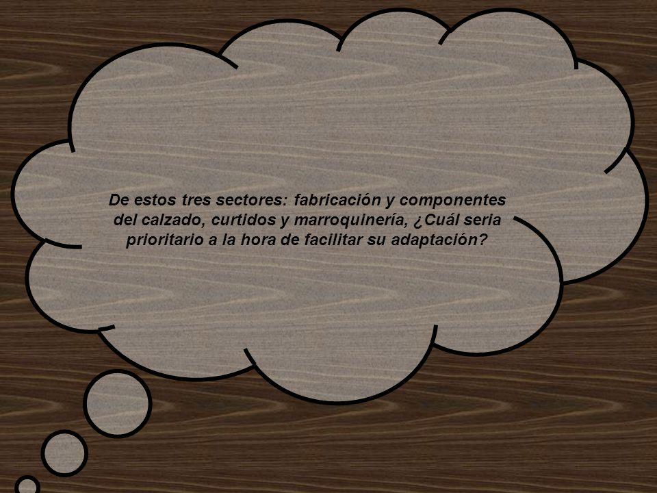 De estos tres sectores: fabricación y componentes del calzado, curtidos y marroquinería, ¿Cuál seria prioritario a la hora de facilitar su adaptación