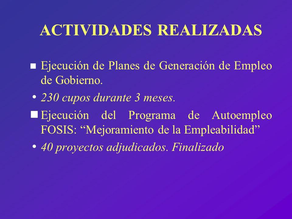 ACTIVIDADES REALIZADAS n Ejecución de Planes de Generación de Empleo de Gobierno. 230 cupos durante 3 meses. Ejecución del Programa de Autoempleo FOSI