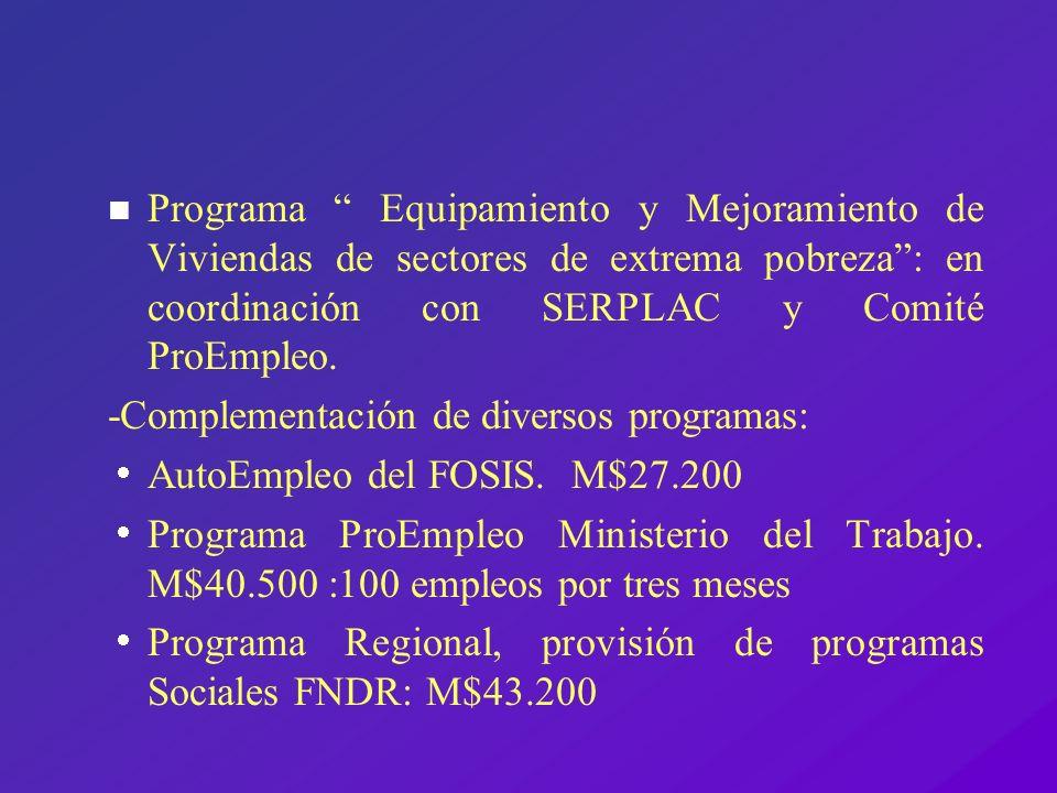 n Programa Equipamiento y Mejoramiento de Viviendas de sectores de extrema pobreza: en coordinación con SERPLAC y Comité ProEmpleo. -Complementación d