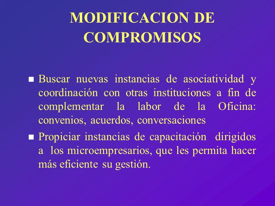 MODIFICACION DE COMPROMISOS n Buscar nuevas instancias de asociatividad y coordinación con otras instituciones a fin de complementar la labor de la Of