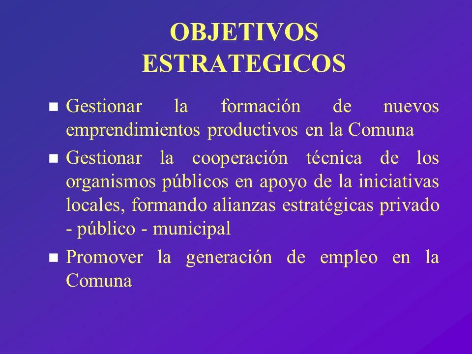 OBJETIVOS ESTRATEGICOS n Gestionar la formación de nuevos emprendimientos productivos en la Comuna n Gestionar la cooperación técnica de los organismo
