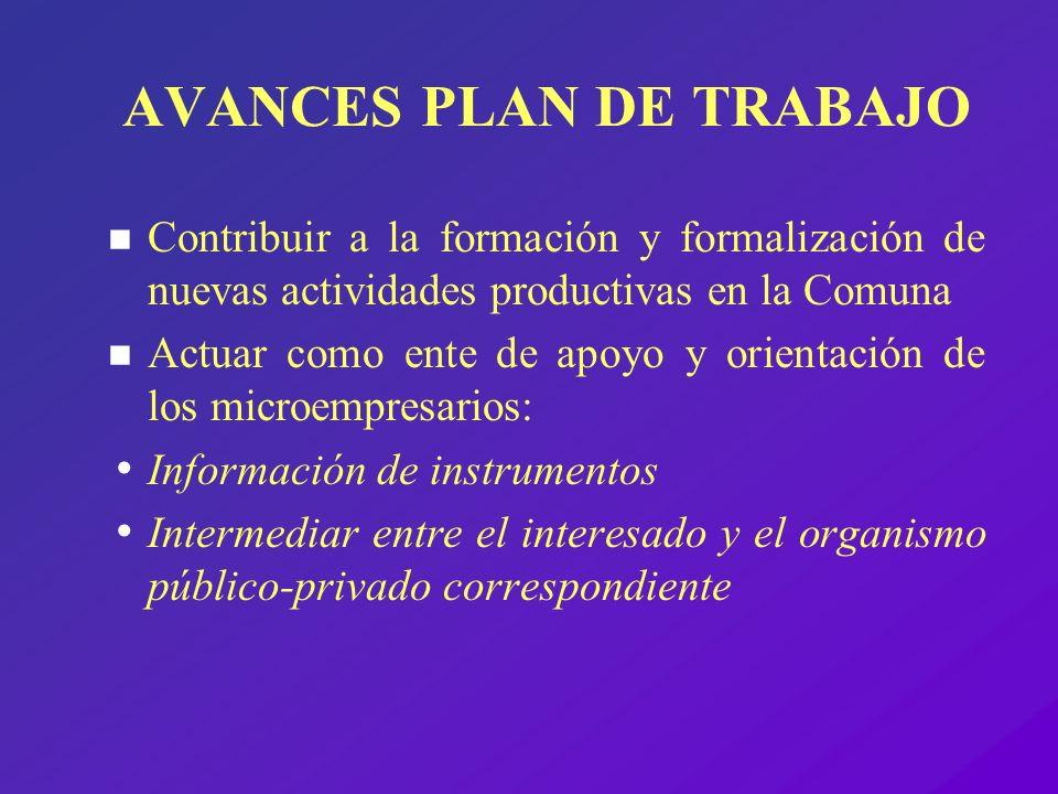 AVANCES PLAN DE TRABAJO n Contribuir a la formación y formalización de nuevas actividades productivas en la Comuna n Actuar como ente de apoyo y orien