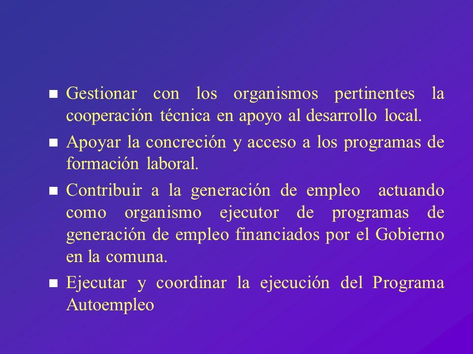 n Coordinar la acción del Gobierno regional en el Municipio, a través de los programas FOSIS, SENCE, y Pro Empleo n Concretar la asociatividad con otras instituciones, como un manera de contribuir el desarrollo del fomento productivo