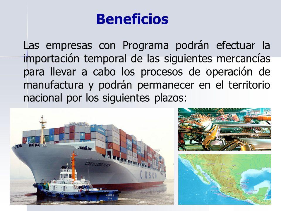 Las empresas con Programa podrán efectuar la importación temporal de las siguientes mercancías para llevar a cabo los procesos de operación de manufac