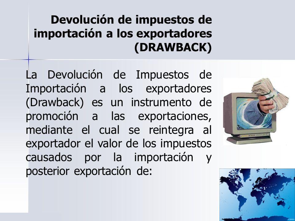 Devolución de impuestos de importación a los exportadores (DRAWBACK) La Devolución de Impuestos de Importación a los exportadores (Drawback) es un ins