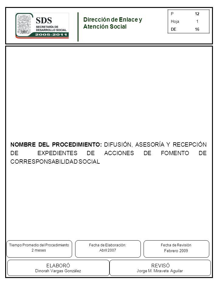 P12 Hoja1 DE16 NOMBRE DEL PROCEDIMIENTO: DIFUSIÓN, ASESORÍA Y RECEPCIÓN DE EXPEDIENTES DE ACCIONES DE FOMENTO DE CORRESPONSABILIDAD SOCIAL Dirección de Enlace y Atención Social Tiempo Promedio del Procedimiento 2 meses REVISÓ Jorge M.