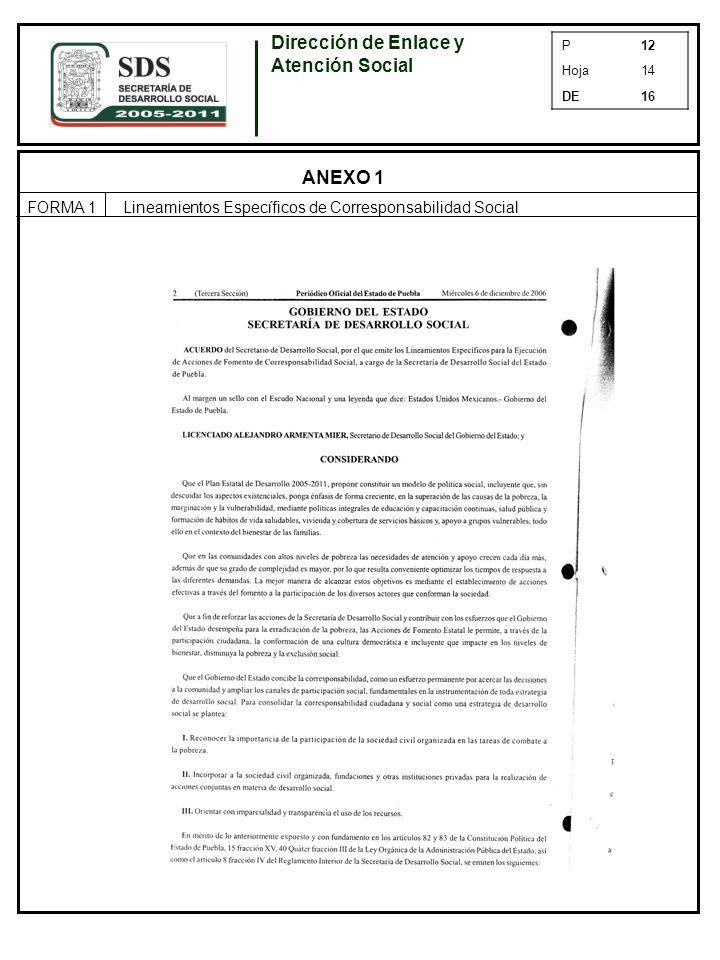 P12 Hoja14 DE16 ANEXO 1 FORMA 1Lineamientos Específicos de Corresponsabilidad Social Dirección de Enlace y Atención Social