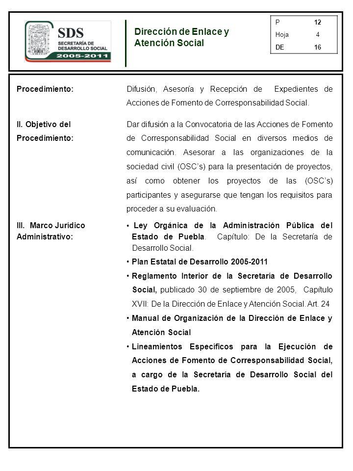 P12 Hoja4 DE16 Procedimiento: Difusión, Asesoría y Recepción de Expedientes de Acciones de Fomento de Corresponsabilidad Social.