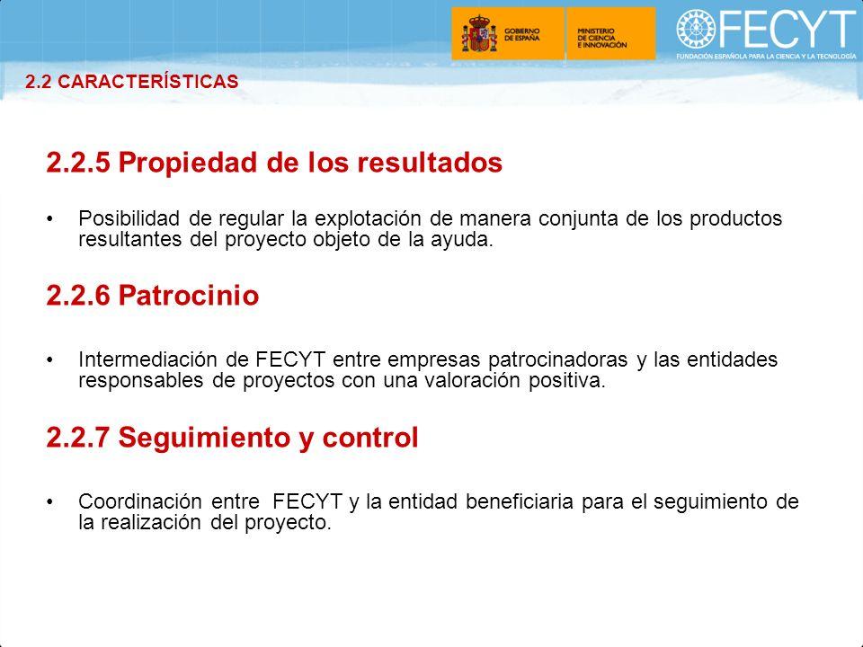 2.2.5 Propiedad de los resultados Posibilidad de regular la explotación de manera conjunta de los productos resultantes del proyecto objeto de la ayud