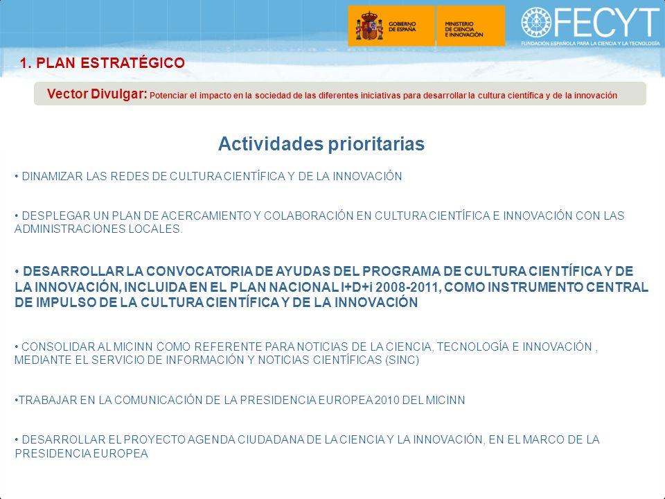 Plan Estratégico 2010-2012 Página 5 DINAMIZAR LAS REDES DE CULTURA CIENTÍFICA Y DE LA INNOVACIÓN DESPLEGAR UN PLAN DE ACERCAMIENTO Y COLABORACIÓN EN C