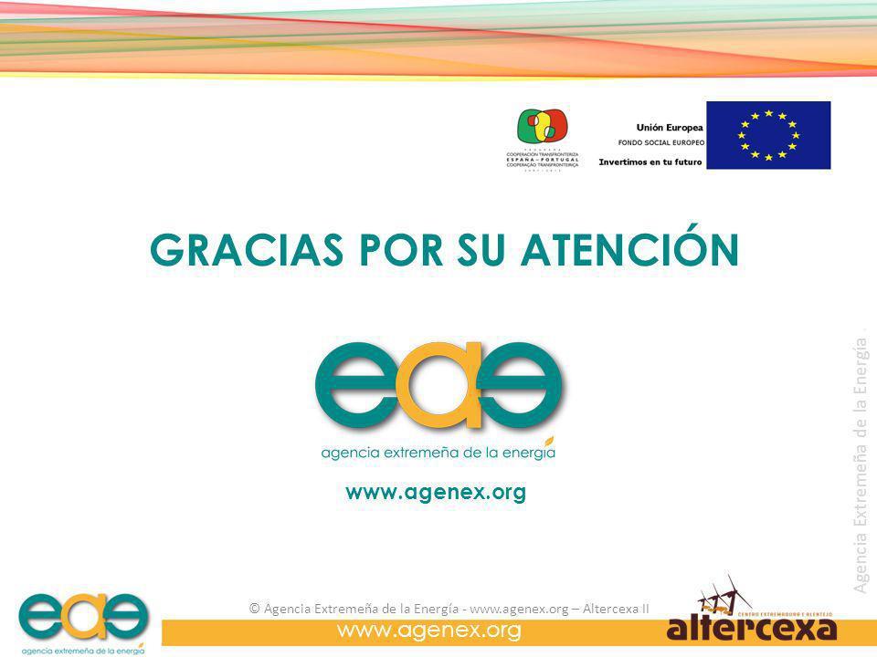 Agencia Extremeña de la Energía. www.agenex.org © Agencia Extremeña de la Energía - www.agenex.org – Altercexa II www.agenex.org GRACIAS POR SU ATENCI