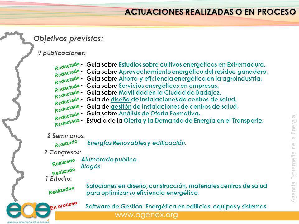 Agencia Extremeña de la Energía. www.agenex.org ACTUACIONES REALIZADAS O EN PROCESO Objetivos previstos: 9 publicaciones: Guía sobre Estudios sobre cu