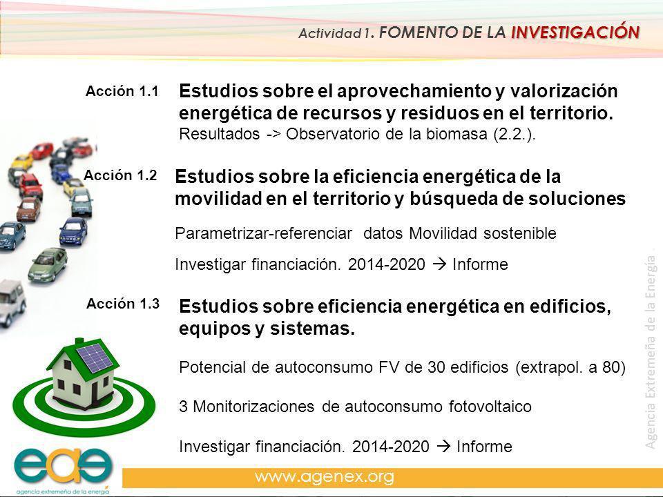 Agencia Extremeña de la Energía. www.agenex.org Acción 1.1 Acción 1.3 INVESTIGACIÓN Actividad 1. FOMENTO DE LA INVESTIGACIÓN Estudios sobre el aprovec