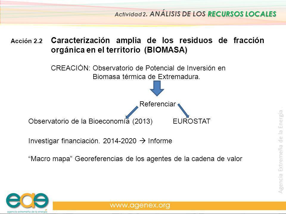 Agencia Extremeña de la Energía. www.agenex.org Acción 2.2 RECURSOS LOCALES Actividad 2. ANÁLISIS DE LOS RECURSOS LOCALES Caracterización amplia de lo