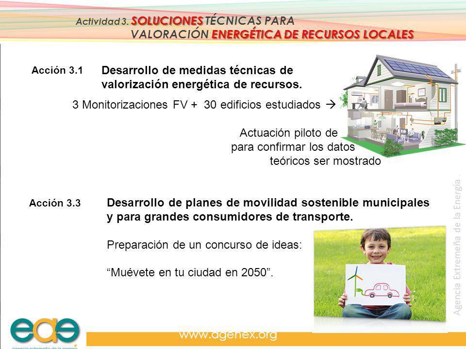 Agencia Extremeña de la Energía. www.agenex.org SOLUCIONES Actividad 3. SOLUCIONES TÉCNICAS PARA ENERGÉTICA DE RECURSOS LOCALES VALORACIÓN ENERGÉTICA