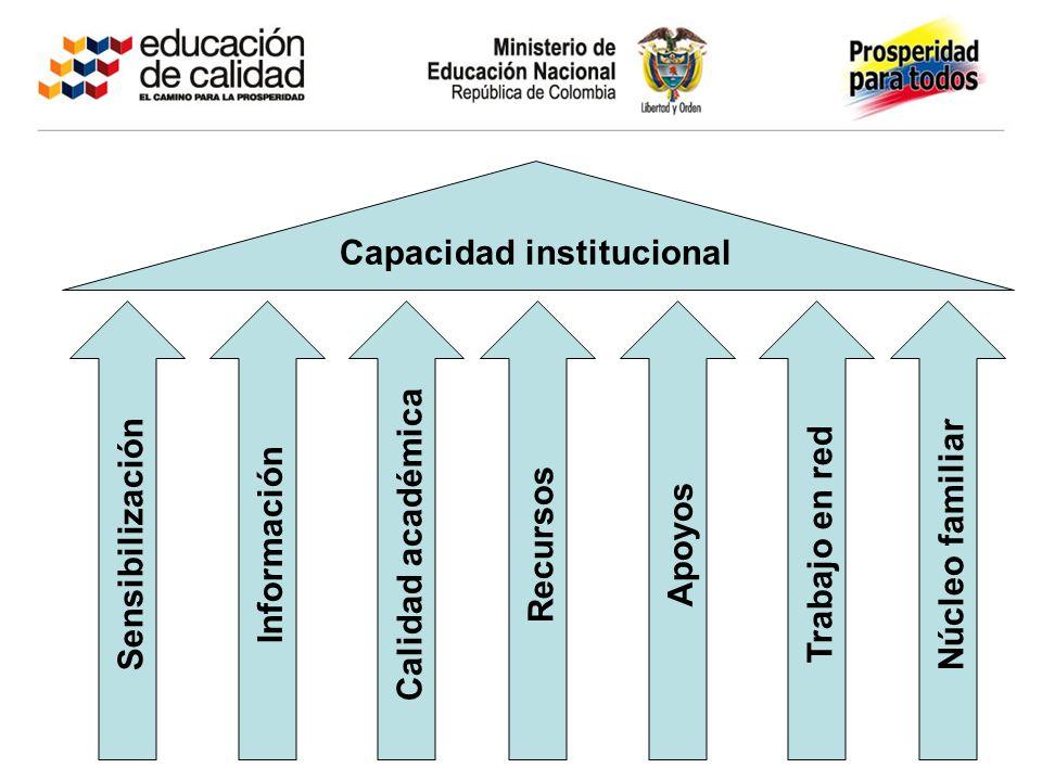 Capacidad institucional Sensibilización Información Calidad académica Recursos Núcleo familiar Trabajo en red Apoyos