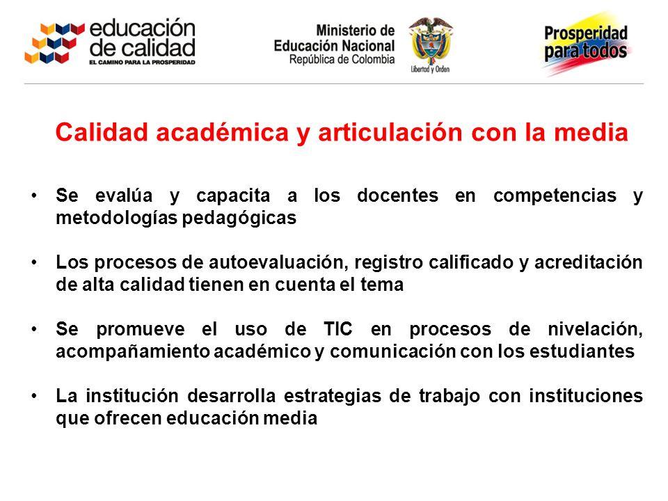 Calidad académica y articulación con la media Se evalúa y capacita a los docentes en competencias y metodologías pedagógicas Los procesos de autoevalu