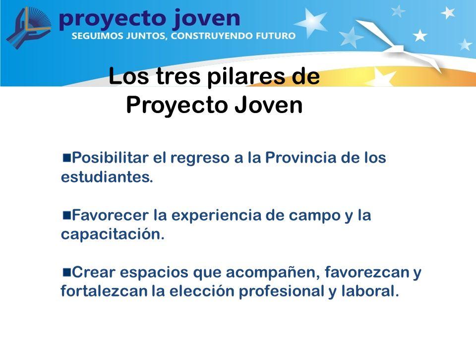 Los tres pilares de Proyecto Joven Posibilitar el regreso a la Provincia de los estudiantes.
