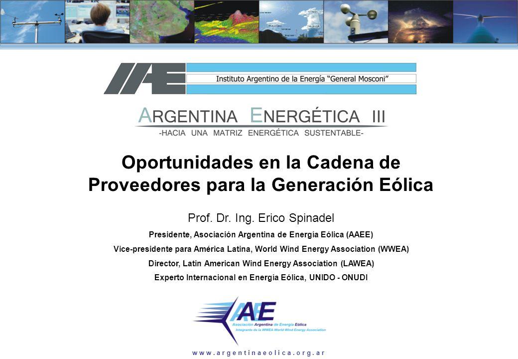 Prof. Dr. Ing. Erico Spinadel w w w. a r g e n t i n a e o l i c a. o r g. a r Oportunidades en la Cadena de Proveedores para la Generación Eólica Pro