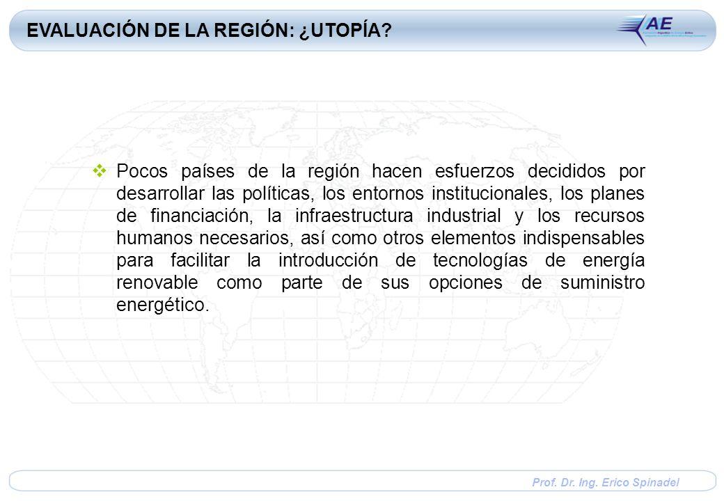 Prof. Dr. Ing. Erico Spinadel Pocos países de la región hacen esfuerzos decididos por desarrollar las políticas, los entornos institucionales, los pla