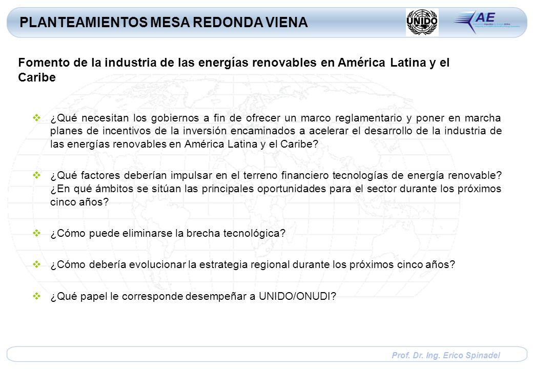Prof. Dr. Ing. Erico Spinadel ¿Qué necesitan los gobiernos a fin de ofrecer un marco reglamentario y poner en marcha planes de incentivos de la invers