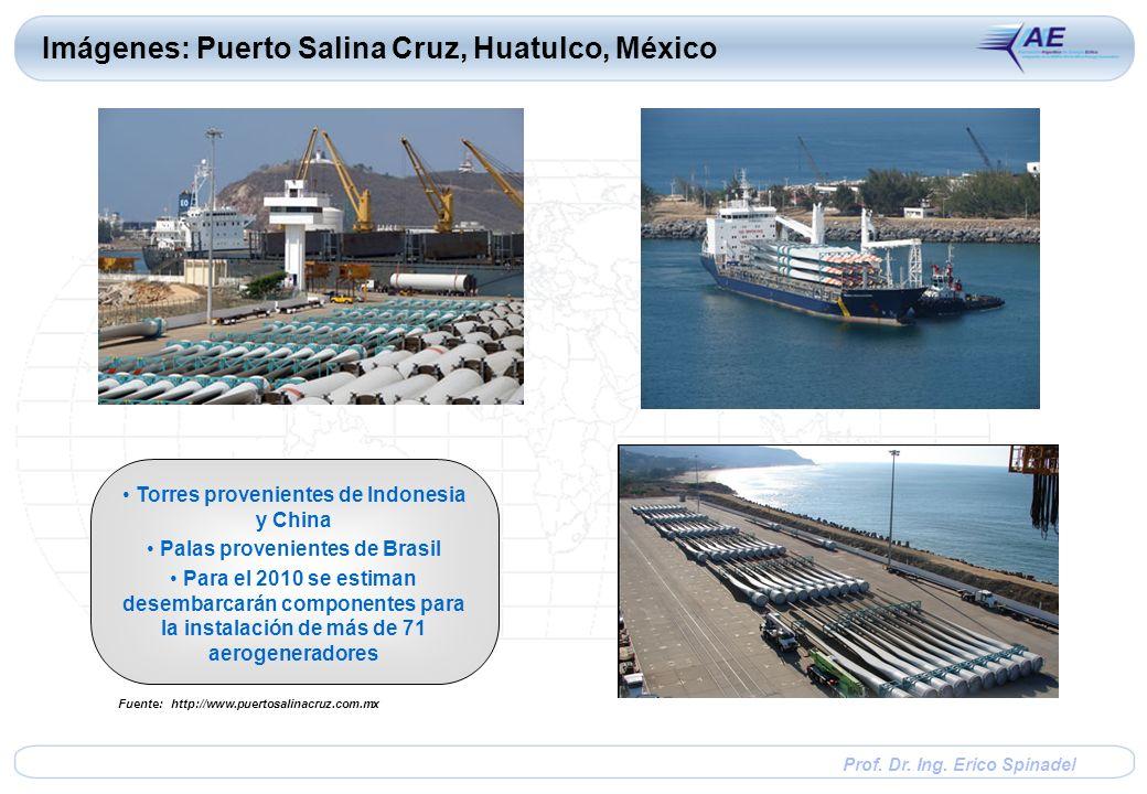Prof. Dr. Ing. Erico Spinadel Imágenes: Puerto Salina Cruz, Huatulco, México Torres provenientes de Indonesia y China Palas provenientes de Brasil Par