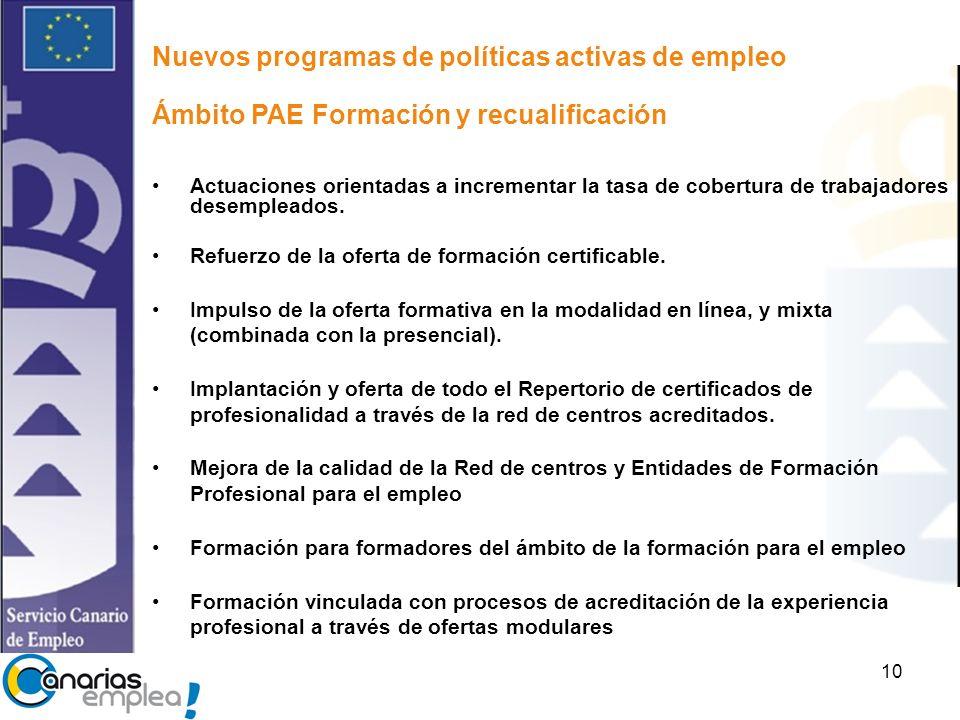 10 Nuevos programas de políticas activas de empleo Ámbito PAE Formación y recualificación Actuaciones orientadas a incrementar la tasa de cobertura de trabajadores desempleados.