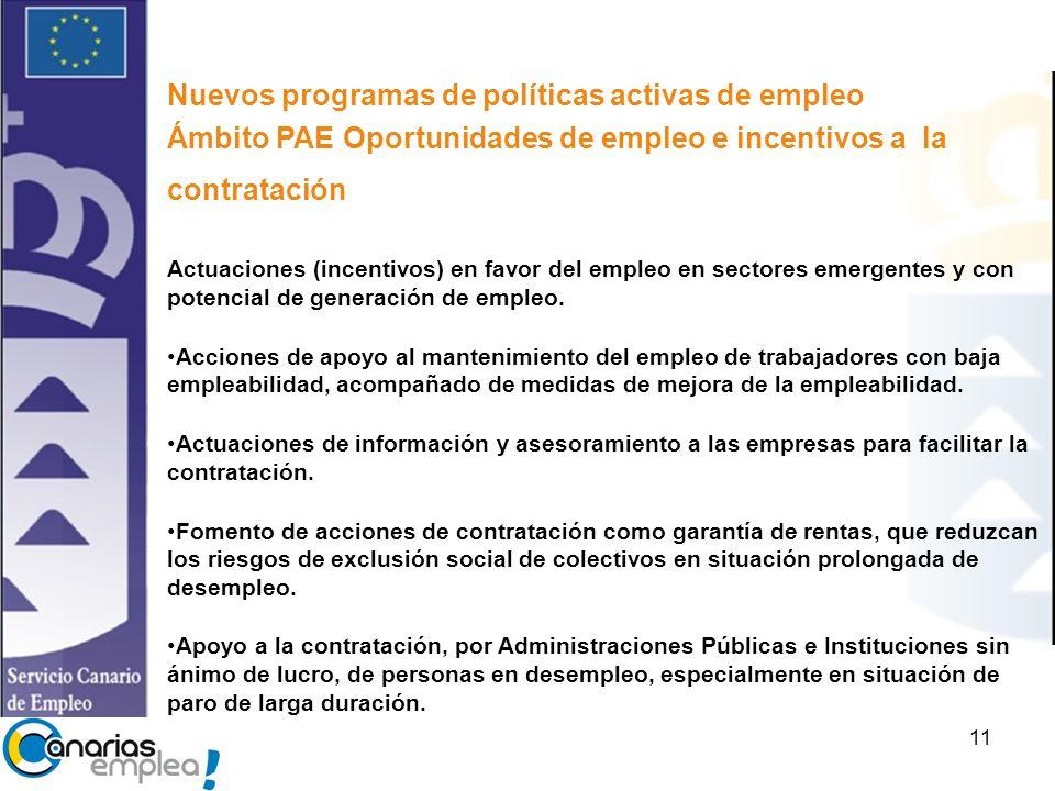 11 Nuevos programas de políticas activas de empleo Ámbito PAE Oportunidades de empleo e incentivos a la contratación Actuaciones (incentivos) en favor del empleo en sectores emergentes y con potencial de generación de empleo.