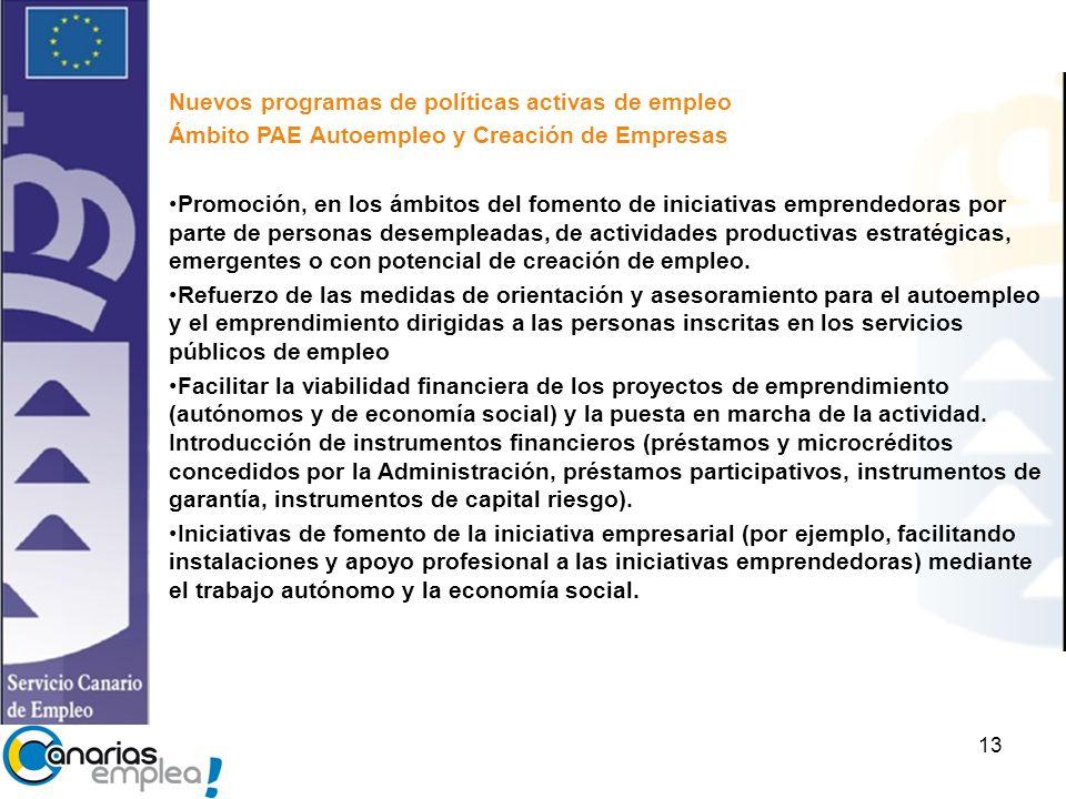 13 Nuevos programas de políticas activas de empleo Ámbito PAE Autoempleo y Creación de Empresas Promoción, en los ámbitos del fomento de iniciativas emprendedoras por parte de personas desempleadas, de actividades productivas estratégicas, emergentes o con potencial de creación de empleo.