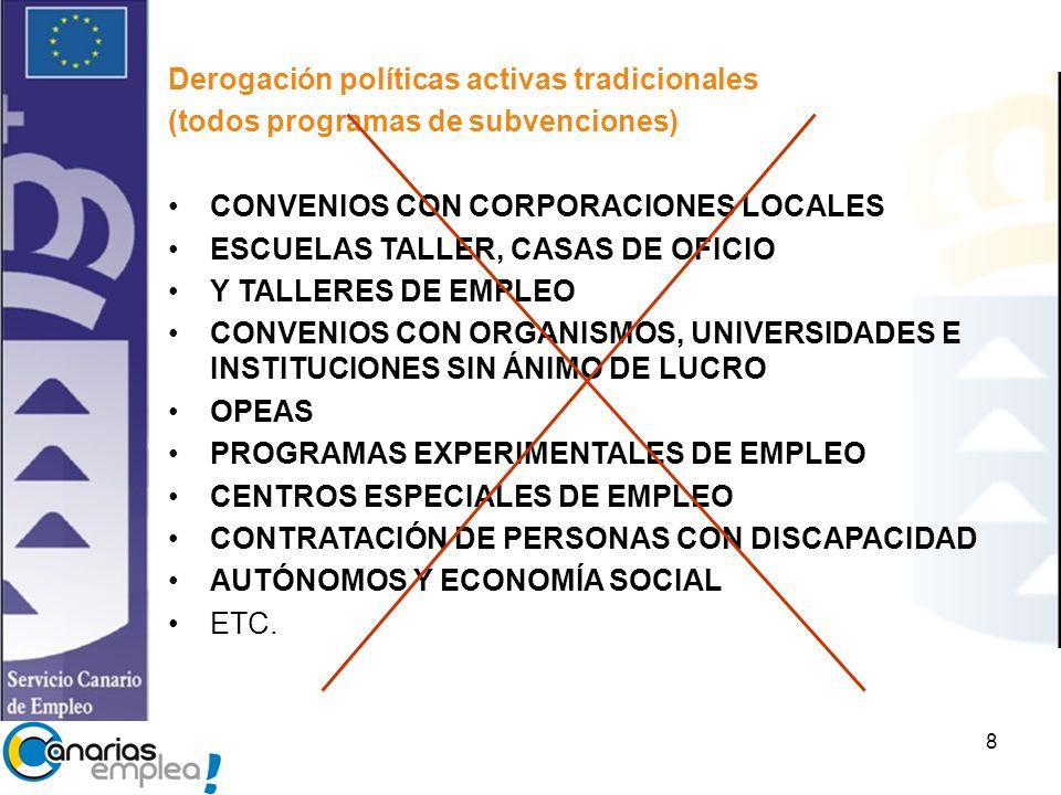 8 Derogación políticas activas tradicionales (todos programas de subvenciones) CONVENIOS CON CORPORACIONES LOCALES ESCUELAS TALLER, CASAS DE OFICIO Y TALLERES DE EMPLEO CONVENIOS CON ORGANISMOS, UNIVERSIDADES E INSTITUCIONES SIN ÁNIMO DE LUCRO OPEAS PROGRAMAS EXPERIMENTALES DE EMPLEO CENTROS ESPECIALES DE EMPLEO CONTRATACIÓN DE PERSONAS CON DISCAPACIDAD AUTÓNOMOS Y ECONOMÍA SOCIAL ETC.