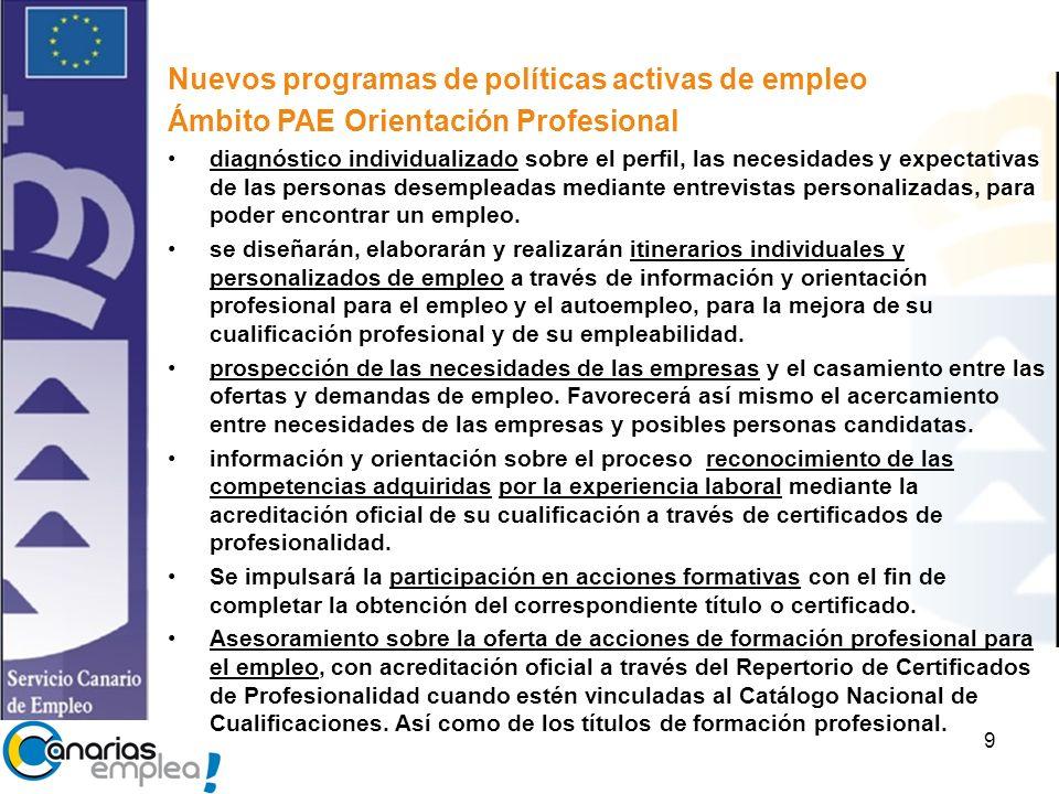 9 Nuevos programas de políticas activas de empleo Ámbito PAE Orientación Profesional diagnóstico individualizado sobre el perfil, las necesidades y expectativas de las personas desempleadas mediante entrevistas personalizadas, para poder encontrar un empleo.