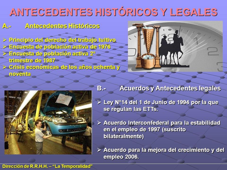 ANTECEDENTES HISTÓRICOS Y LEGALES A.-Antecedentes Históricos Principio del derecho del trabajo tuitivo Principio del derecho del trabajo tuitivo Encue