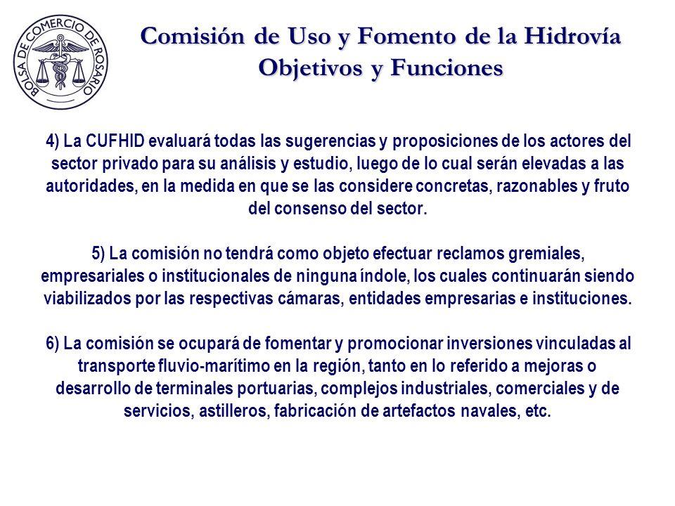 Comisión de Uso y Fomento de la Hidrovía Objetivos y Funciones 4) La CUFHID evaluará todas las sugerencias y proposiciones de los actores del sector privado para su análisis y estudio, luego de lo cual serán elevadas a las autoridades, en la medida en que se las considere concretas, razonables y fruto del consenso del sector.