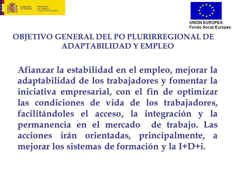 OBJETIVO GENERAL DEL PO PLURIRREGIONAL DE ADAPTABILIDAD Y EMPLEO Afianzar la estabilidad en el empleo, mejorar la adaptabilidad de los trabajadores y