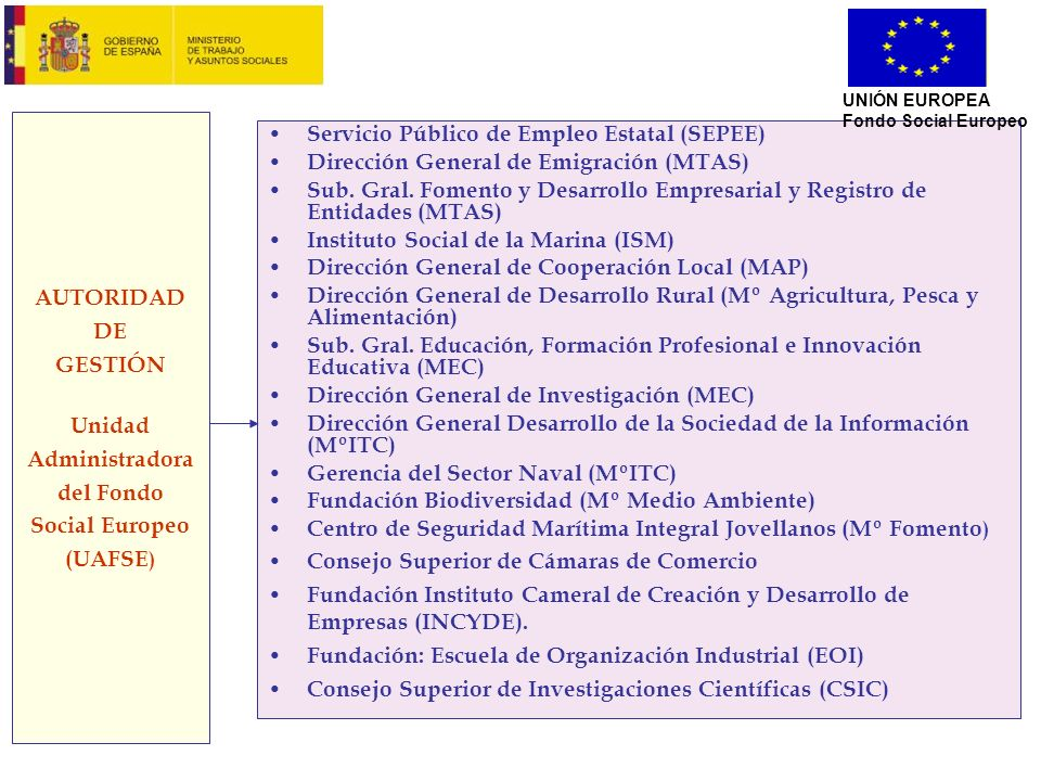AUTORIDAD DE GESTIÓN Unidad Administradora del Fondo Social Europeo (UAFSE ) Servicio Público de Empleo Estatal (SEPEE) Dirección General de Emigració