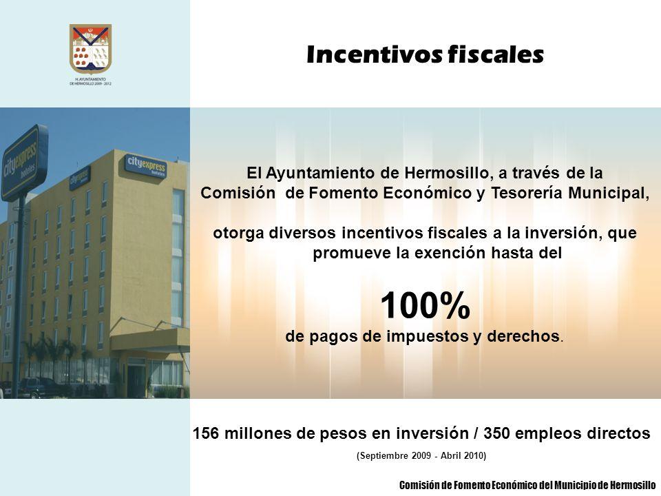 Incentivos fiscales El Ayuntamiento de Hermosillo, a través de la Comisión de Fomento Económico y Tesorería Municipal, otorga diversos incentivos fisc