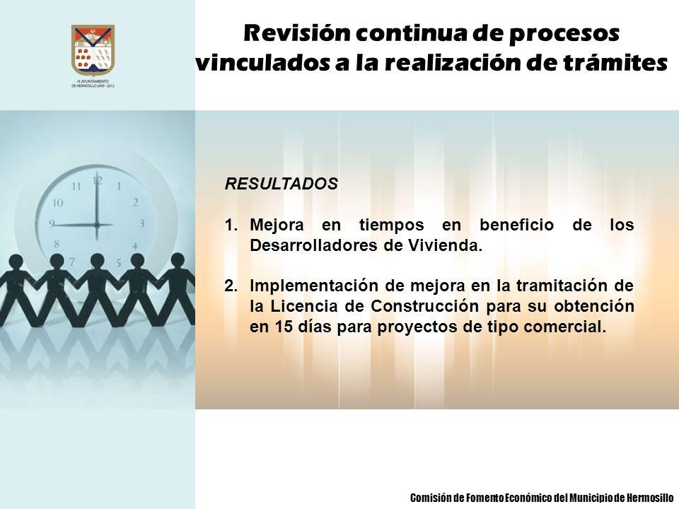 Revisión continua de procesos vinculados a la realización de trámites RESULTADOS 1.Mejora en tiempos en beneficio de los Desarrolladores de Vivienda.