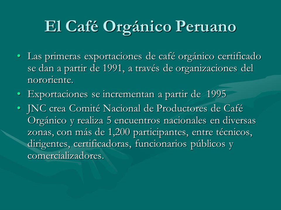 El Café Orgánico Peruano Las primeras exportaciones de café orgánico certificado se dan a partir de 1991, a través de organizaciones del nororiente.Las primeras exportaciones de café orgánico certificado se dan a partir de 1991, a través de organizaciones del nororiente.