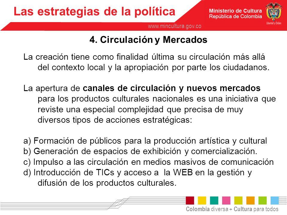 Colombia diversa + Cultura para todos www.mincultura.gov.co Las estrategias de la política 4. Circulación y Mercados La creación tiene como finalidad
