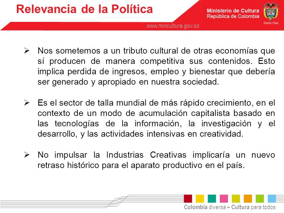 Colombia diversa + Cultura para todos www.mincultura.gov.co Relevancia de la Política Nos sometemos a un tributo cultural de otras economías que sí pr