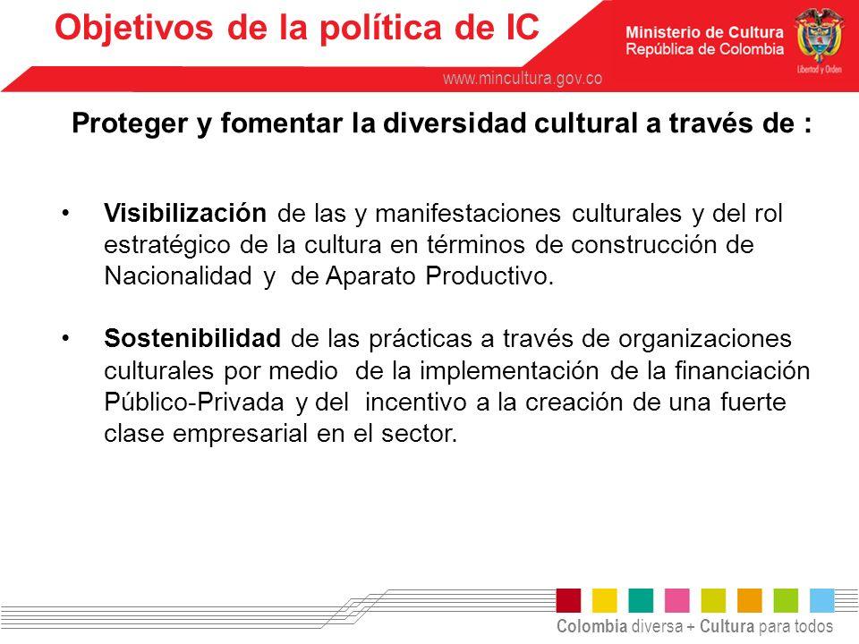 Colombia diversa + Cultura para todos www.mincultura.gov.co Visibilización de las y manifestaciones culturales y del rol estratégico de la cultura en
