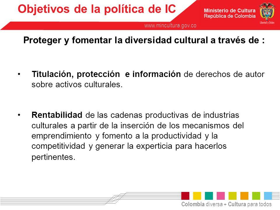 Colombia diversa + Cultura para todos www.mincultura.gov.co Titulación, protección e información de derechos de autor sobre activos culturales. Rentab