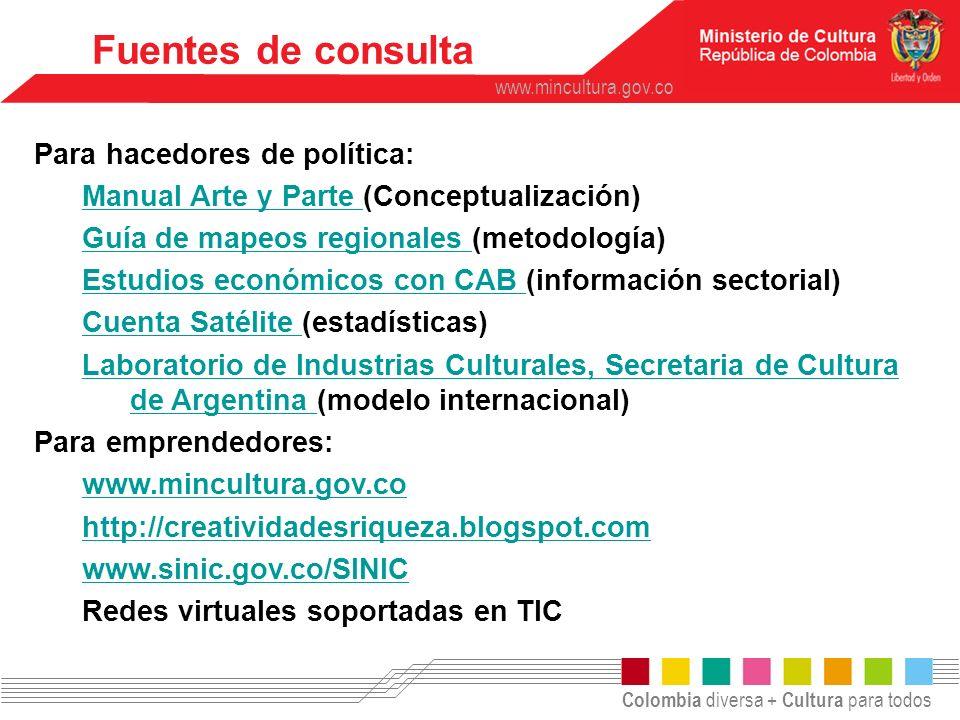 Colombia diversa + Cultura para todos www.mincultura.gov.co Fuentes de consulta Para hacedores de política: Manual Arte y Parte Manual Arte y Parte (C