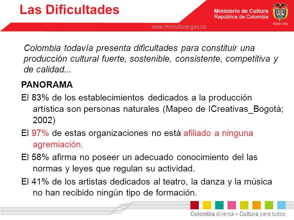 Colombia diversa + Cultura para todos www.mincultura.gov.co Entre quienes tienen alguna formación, predomina la no formal (47%), seguida de la universitaria (36%) y, por último, la recibida en las escuelas de arte (17%).
