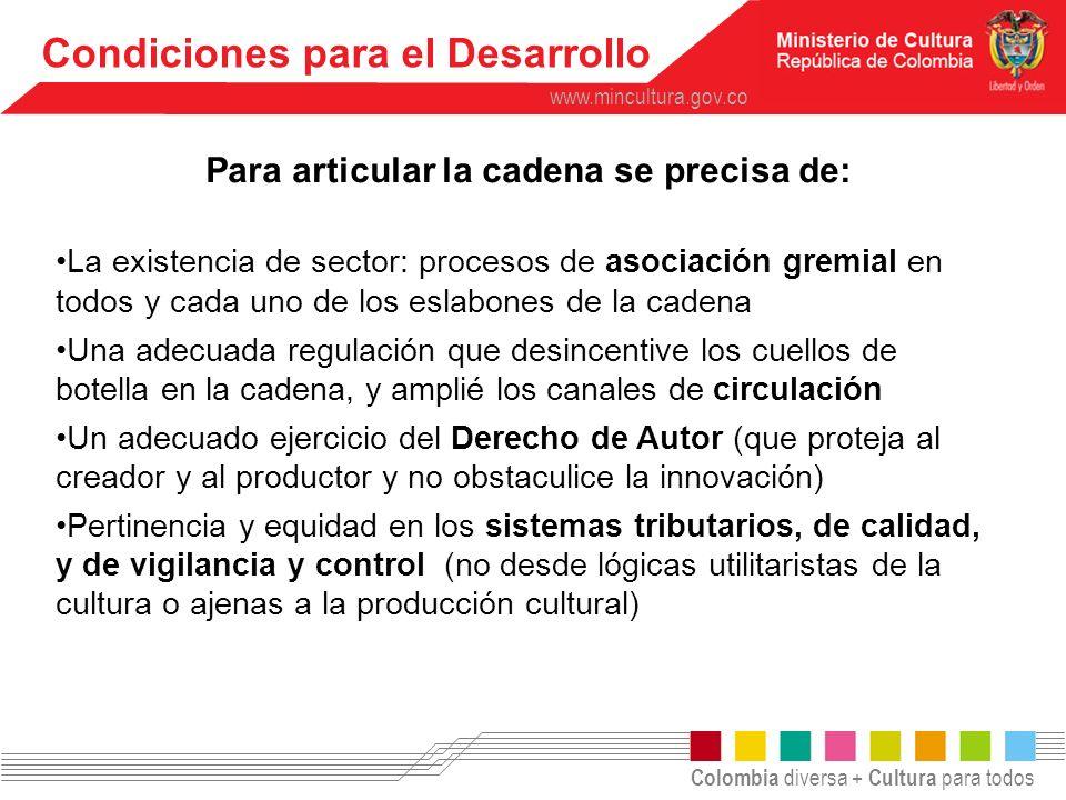 Colombia diversa + Cultura para todos www.mincultura.gov.co Condiciones de Desarrollo Contar con Organizaciones Culturales y Artísticas Fuertes implica: Calidad del producto Proceso productivo pensado y bien soportado.