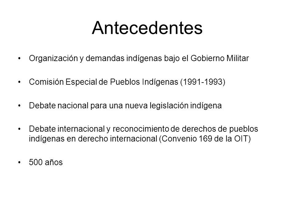 Antecedentes Organización y demandas indígenas bajo el Gobierno Militar Comisión Especial de Pueblos Indígenas (1991-1993) Debate nacional para una nu