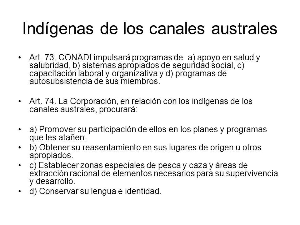 Indígenas de los canales australes Art. 73. CONADI impulsará programas de a) apoyo en salud y salubridad, b) sistemas apropiados de seguridad social,