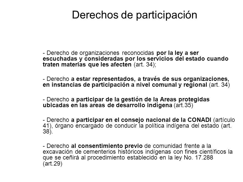 Derechos de participación - Derecho de organizaciones reconocidas por la ley a ser escuchadas y consideradas por los servicios del estado cuando trate