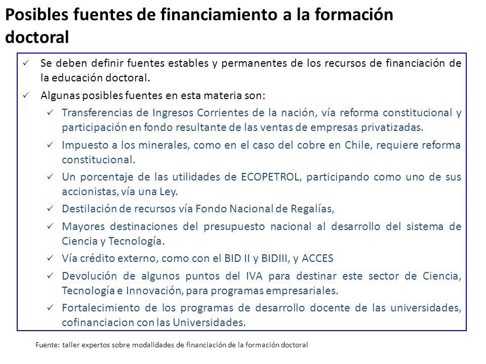 Posibles fuentes de financiamiento a la formación doctoral Se deben definir fuentes estables y permanentes de los recursos de financiación de la educa