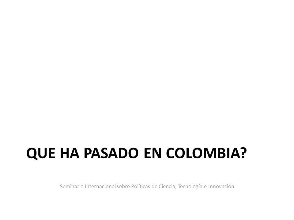 Seminario Internacional sobre Políticas de Ciencia, Tecnología e Innovación QUE HA PASADO EN COLOMBIA?
